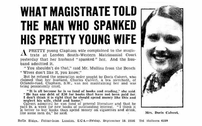 pretty young spanked wife newspaper clipping: judge says wives don't like it