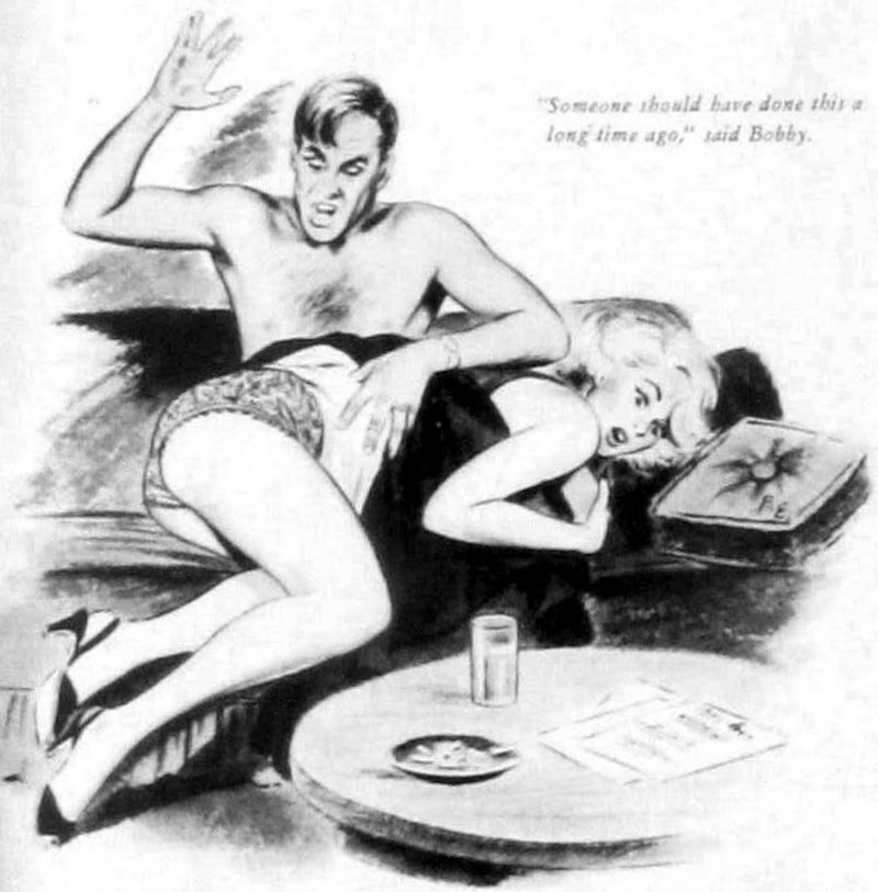 spanked blonde in 1950s pulp illustration