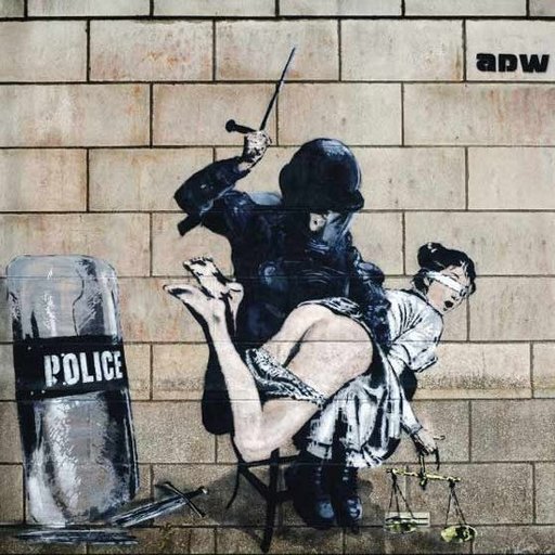 "Riot policeman spanks the bare bottom of Lady Justice in street art ""graffiti\"" by ADW"