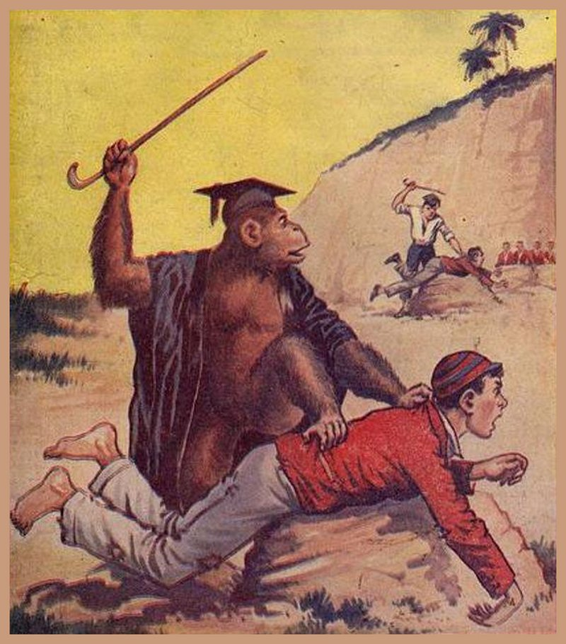 planet of the apes boy caned by monkey who is watching tutor caning another boy in front of an open air class in the tropics with palm trees