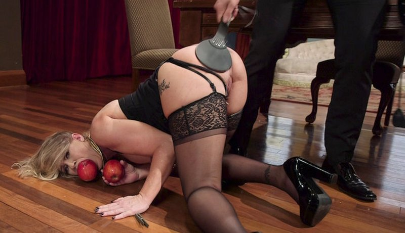 spanked for hurting his dick with her teeth during a blowjob