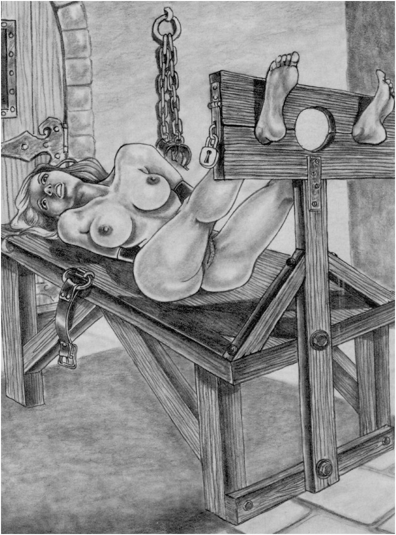 a bondage table with a built-in pillory
