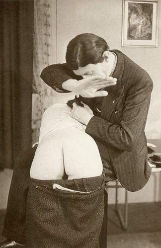 awkward vintage spanking position