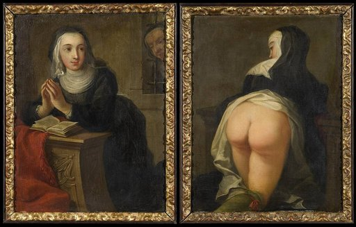front and rear views of a nun about to get a religious discipline spanking