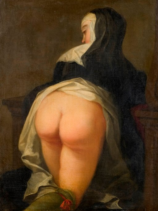 kneeing nun bares her bottom for punishment