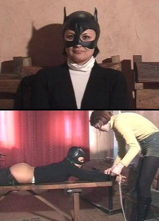bondage whipping for girl wearing bat mask