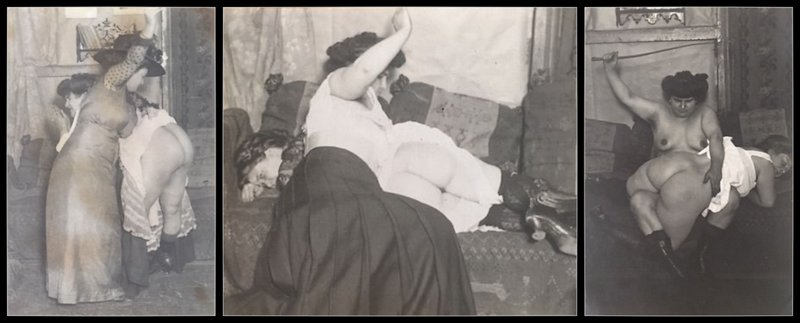 one large fat woman spanking another series of three vintage whipping photos
