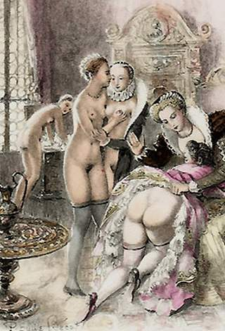 spanking scene from vies des dames galantes as illustrated by Paul Emile Becat