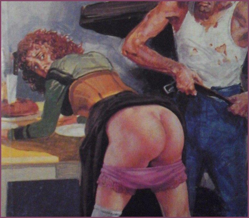 bent over for a hard belt spanking