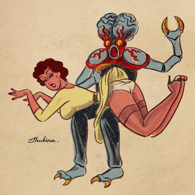 bug-eyed monster spanking a pretty earthling woman