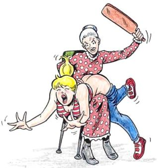 Comic Book Betty getting a real hard spanking