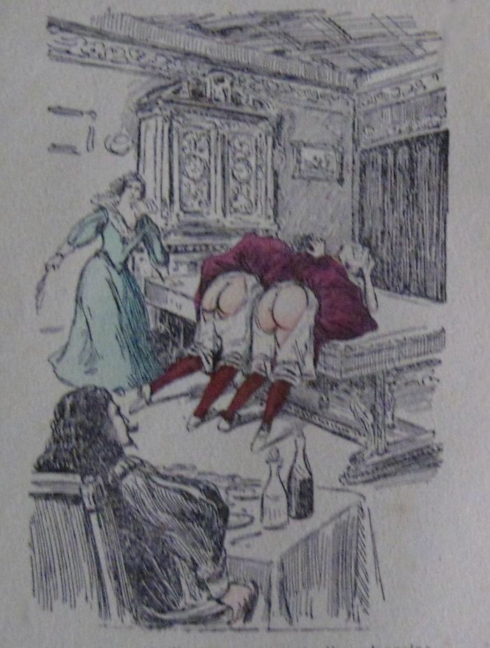 two maids or household servants receive a bare-bottom birching bent over a billiards table while the master of the house watches with a glass of sherry at hand