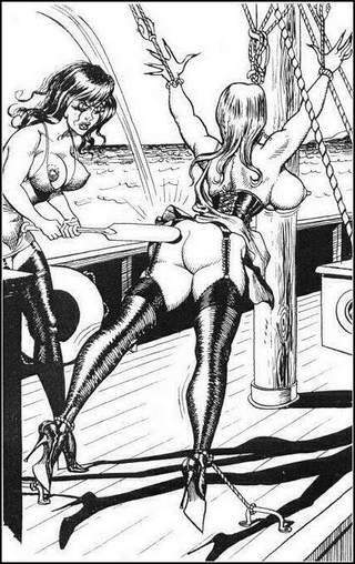 woman tied up on a sailing boat and harshly paddled