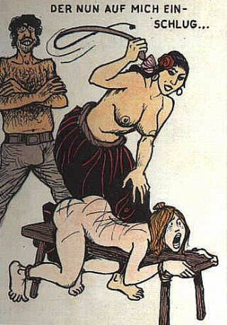 woman tied to a bench and whipped