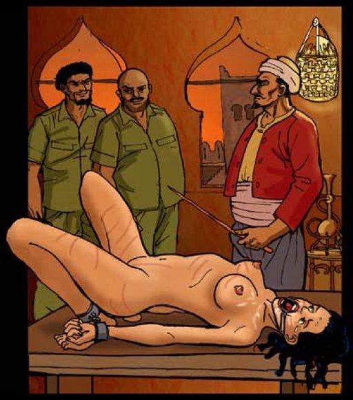 harem slave caned after unsatisfactory bondage blowjob