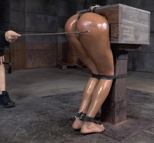 caning nikki darling with her torso in a wooden bondage box