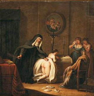 nun spanks a young woman while two more wait tearfully