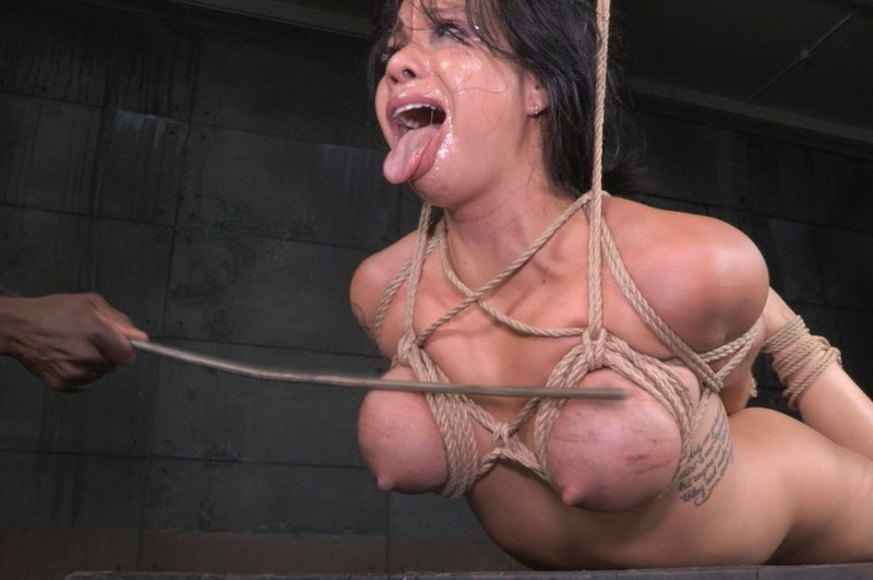breast caning for a hogtied kimmy lee