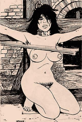 tied to a cross and boob-caned by vicious nuns
