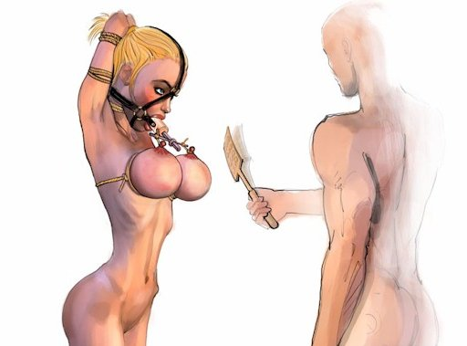 bondage breast spanking art