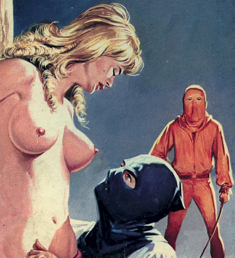 hooded executioners prepare to whip her breasts
