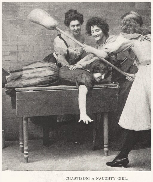 chorus girls spanking one of their number with a broom