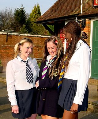 three porny schoolgirls about to get in trouble
