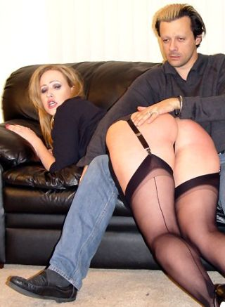 trashy porn model in spanking pose