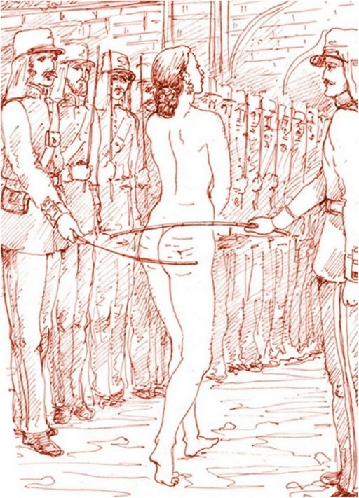 nude woman walks the gauntlet between uniformed men who are caning her with bamboo canes