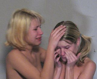 caned girls in tears