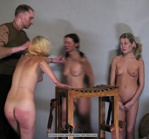 three sorry girls, one caning block