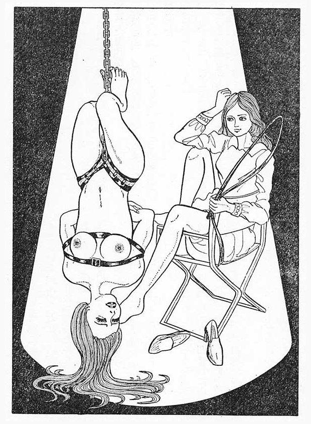 slow whipping bondage illustration from Kitan Club magazine