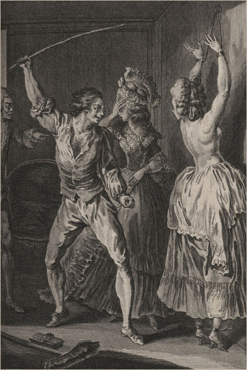 1780s chamber maid being beaten with a stick on her back