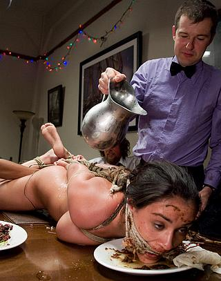 messy fun with charley chase getting her face pressed into the leftover food
