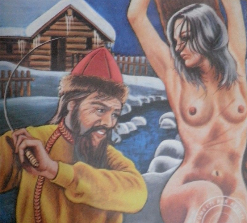 wintertime outdoor russian whipping scene