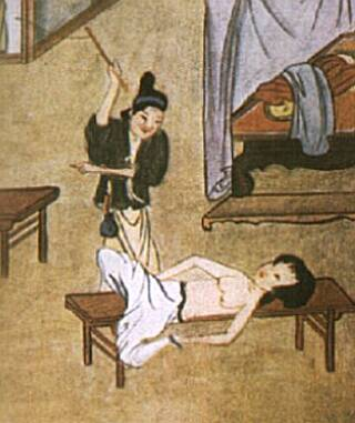 oriental breast whipping illustration