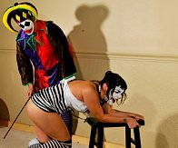 sad clown cannot hold her caning position