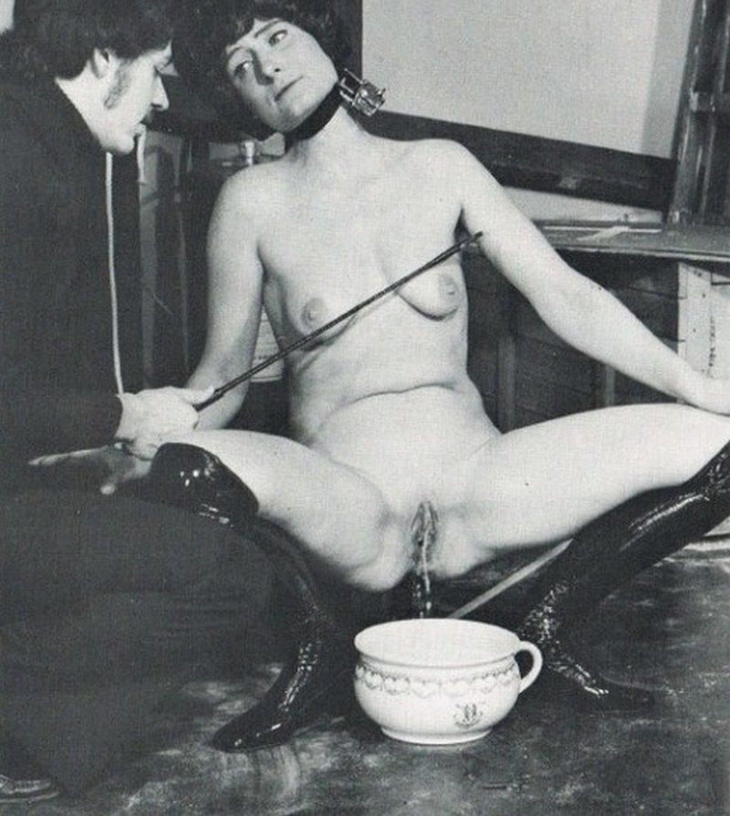 breast caning to make her piss in a chamberpot