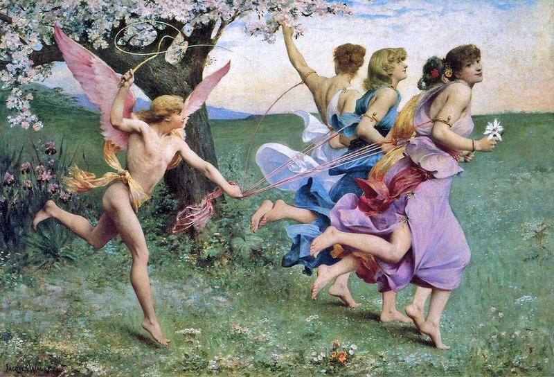 cupid whipping four lovely girls who are leading him on reins as if they were pretty horses