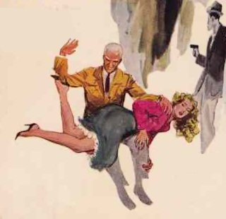 spanking art from the cover of a pulp detective book