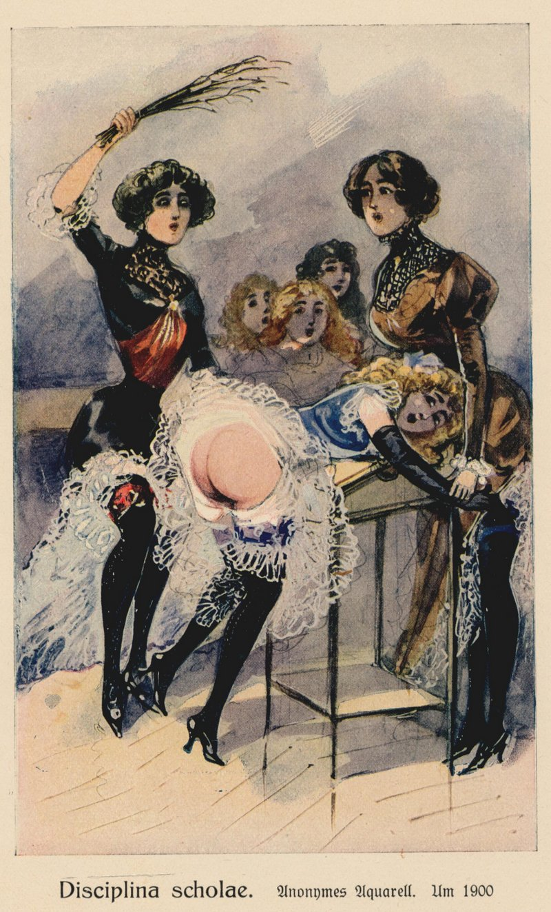 school discipline birching anonymous watercolor circa 1900
