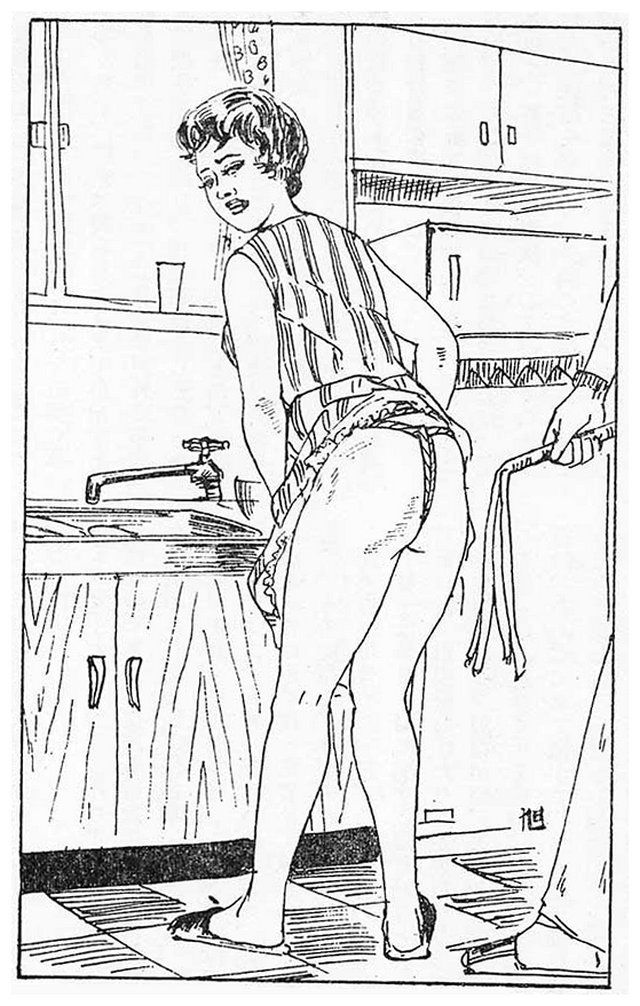 disciplined housewife wears crotch rope and is whipped while doing dishes