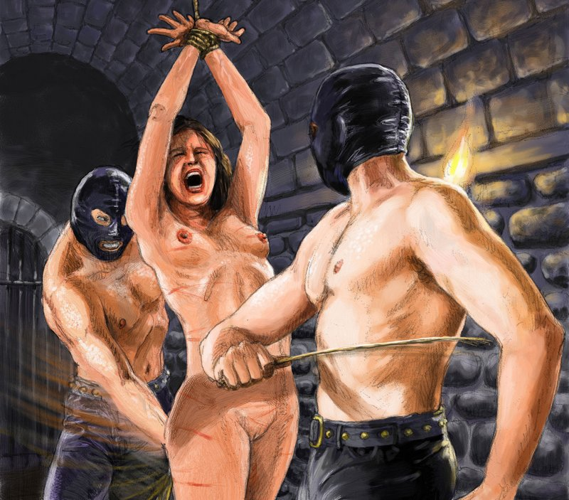 two men in anonymous executioner / torturer masks whipping and switching and birching a helpless tied naked woman in an ominous stone dungeon