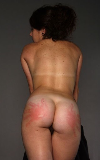 two spanking hand prints on her bottom