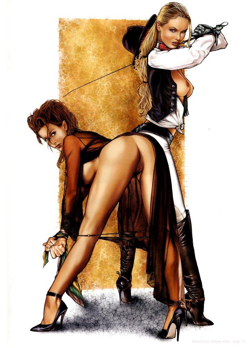 lesbian horsewoman prepares to whip her bondage girlfriend