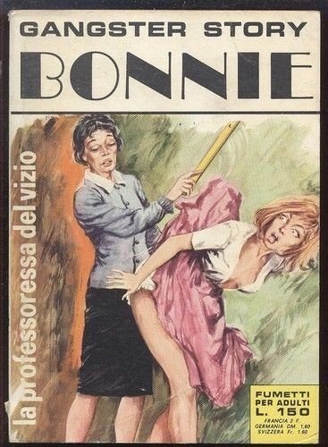 la professoressa del vizio fails at ruler spanking on the cover of Gangster Story Bonnie #25