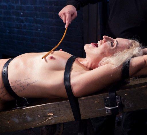 light bondage breast caning at Device Bondage