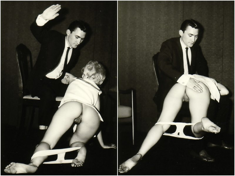 showing her bare furry pussy during a formal spanking