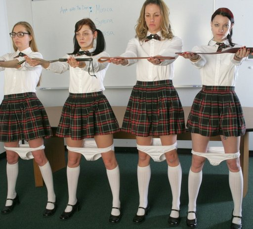 schoolgirls reporting for punishment with their panties down
