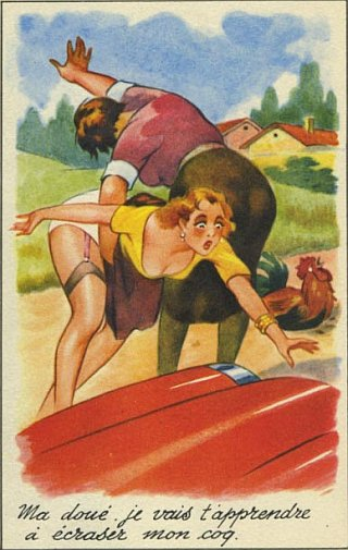 comic spanking postcard from france